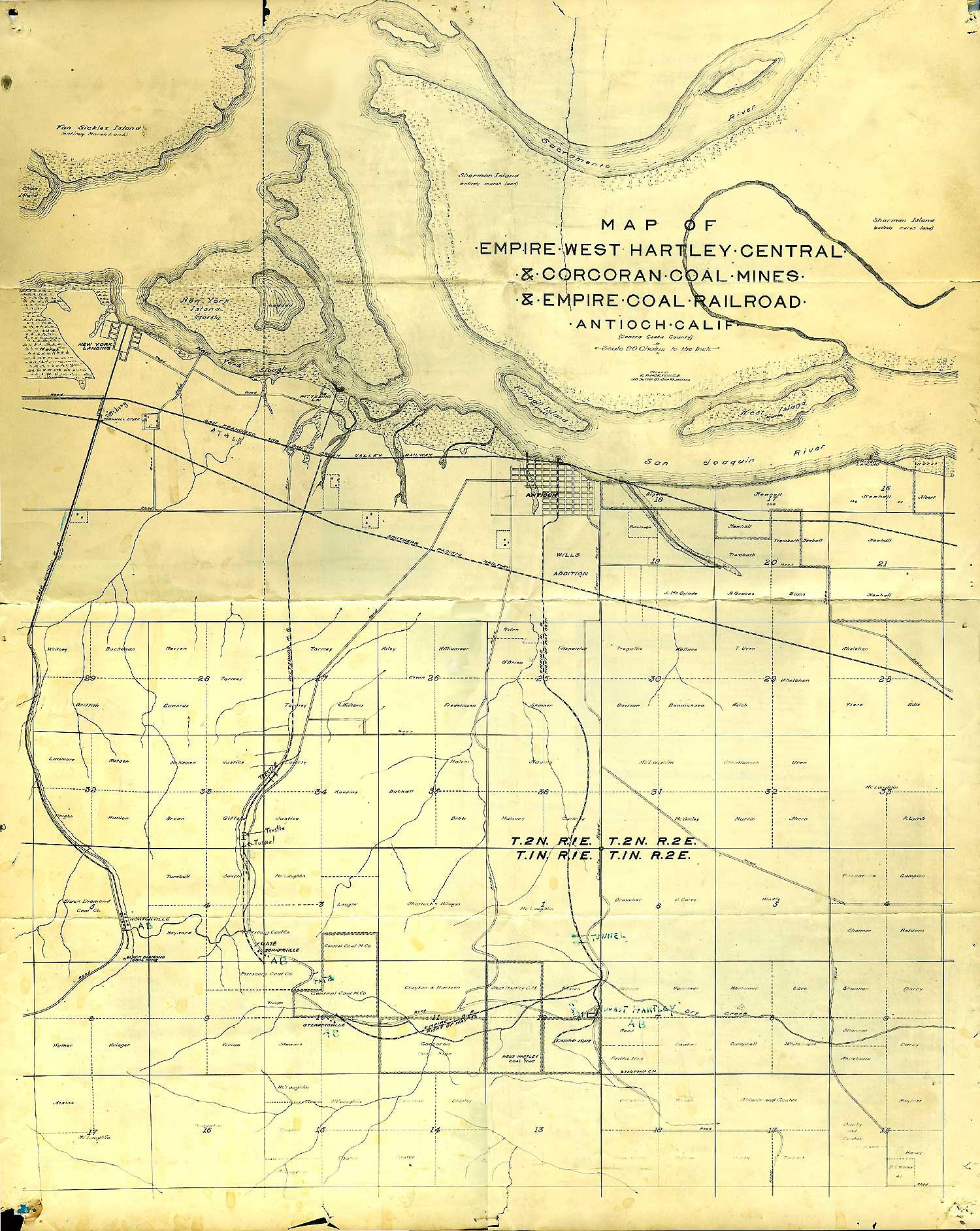 Map of Antioch\'s Coal Mine Railroads