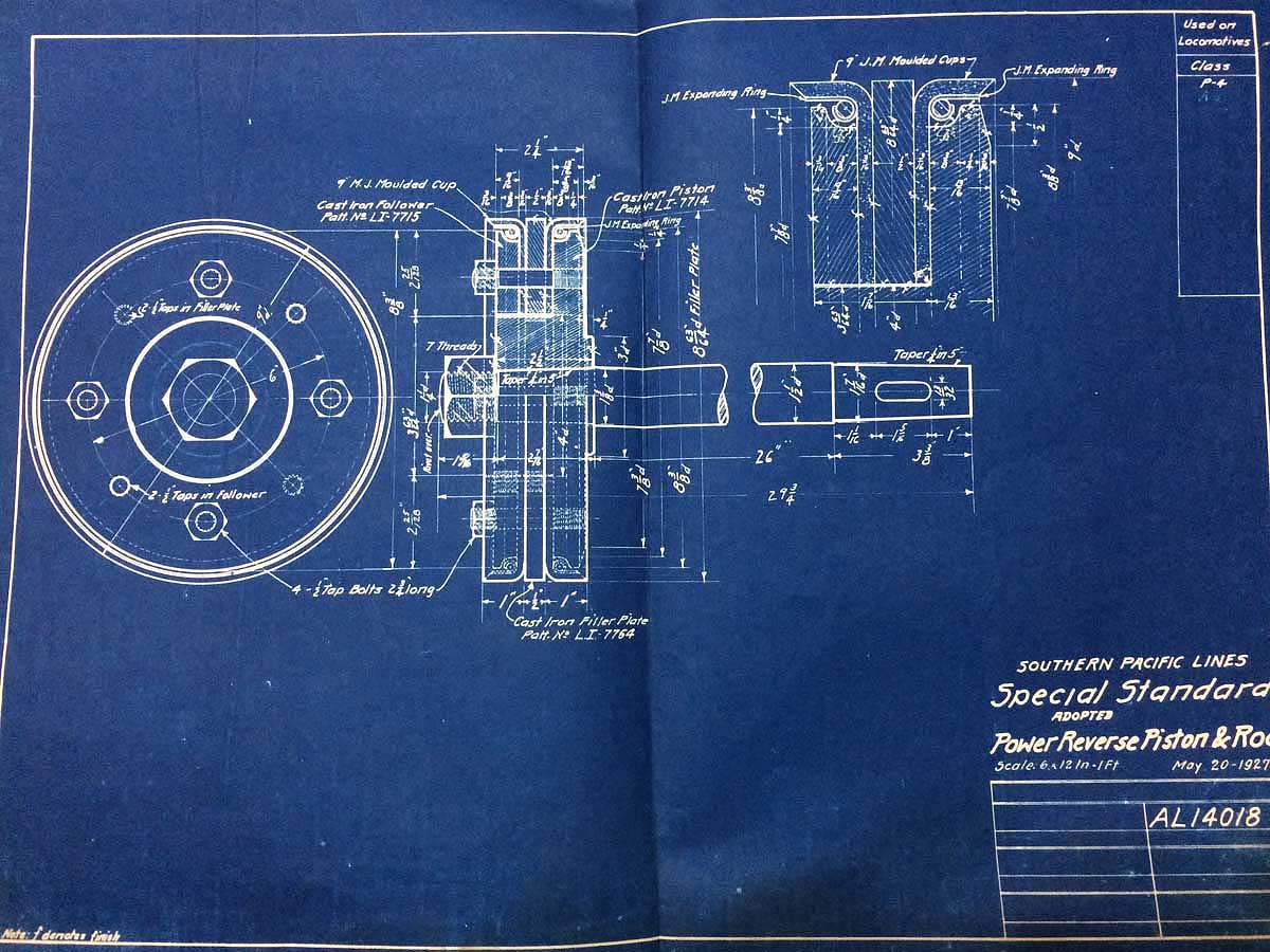 Southern pacific steam locomotive blueprints rescued by bayshore piston rod for loco class p 4 malvernweather Gallery