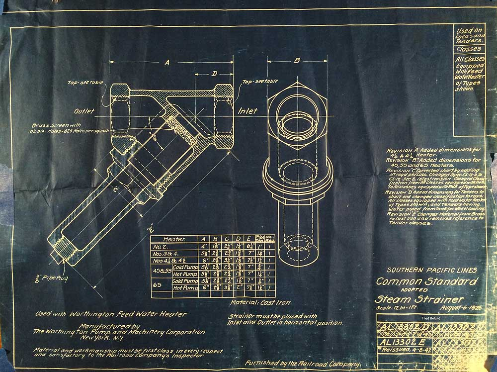 Southern Pacific Steam Locomotive Blueprints - rescued by